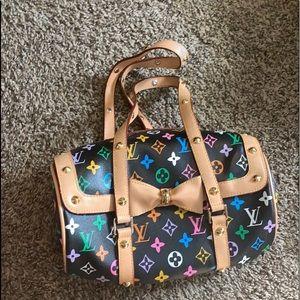 Louis Vuitton black multicolor papillon handbag